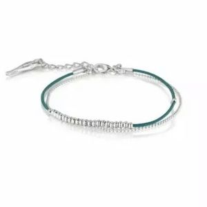 Dainty Teal Leather and Bead Bracelet